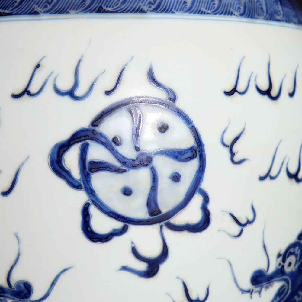 A LARGE BLUE AND WHITE CHINESE VASE AS A LAMP