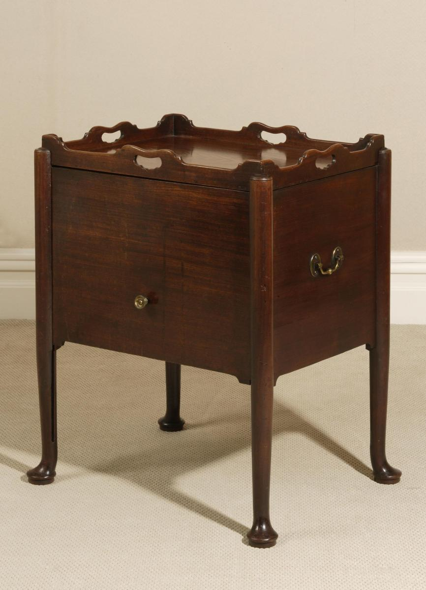 Early and Rare Georgian Mahogany Bedside Cabinet / Commode / Tray Table