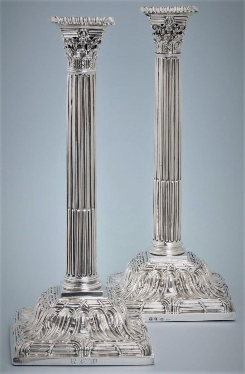 GEORGE III Pair of Silver Tall Corinthian filled Candlesticks by Ebeneze Coker