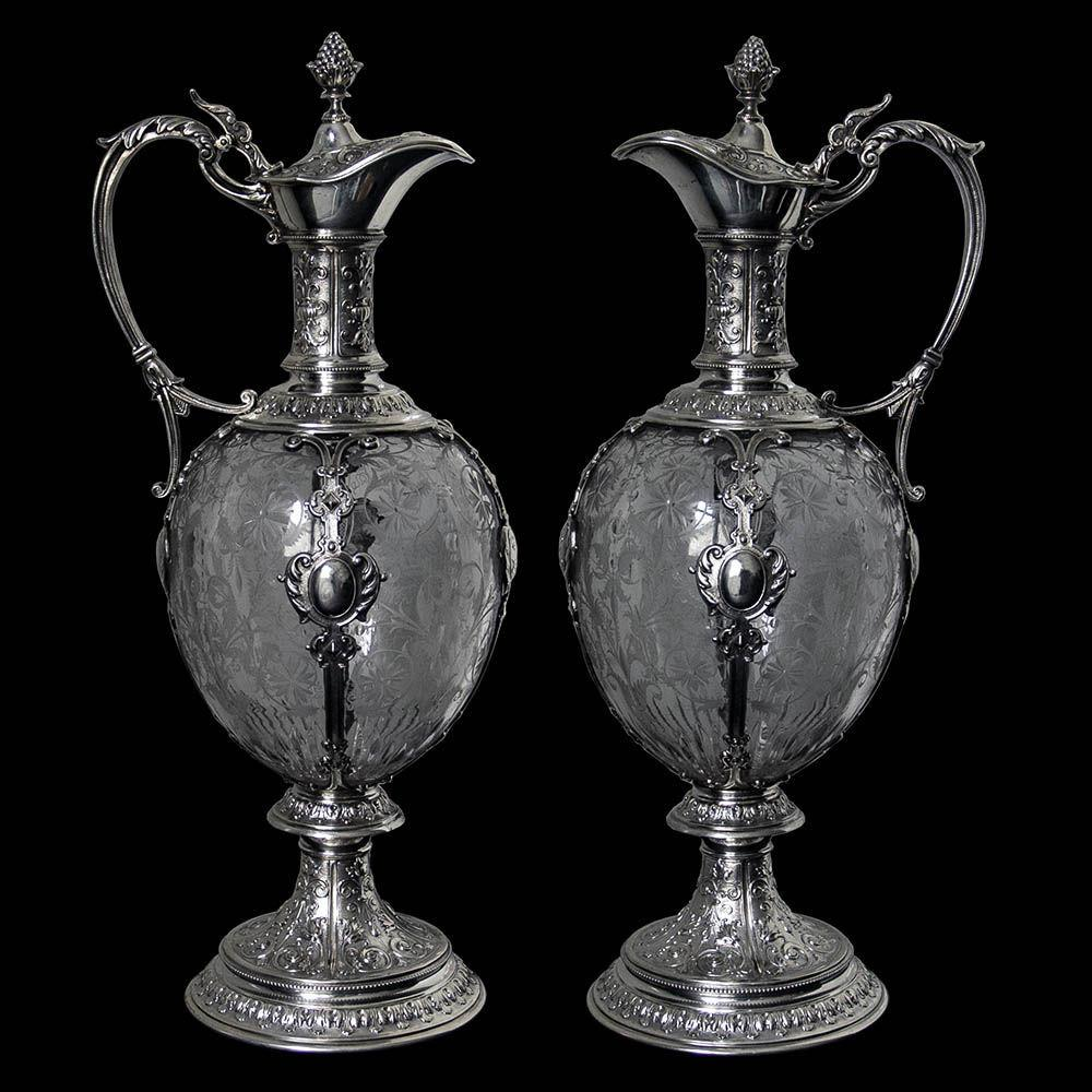 Pair of German Silver Mounted Glass Claret Jugs