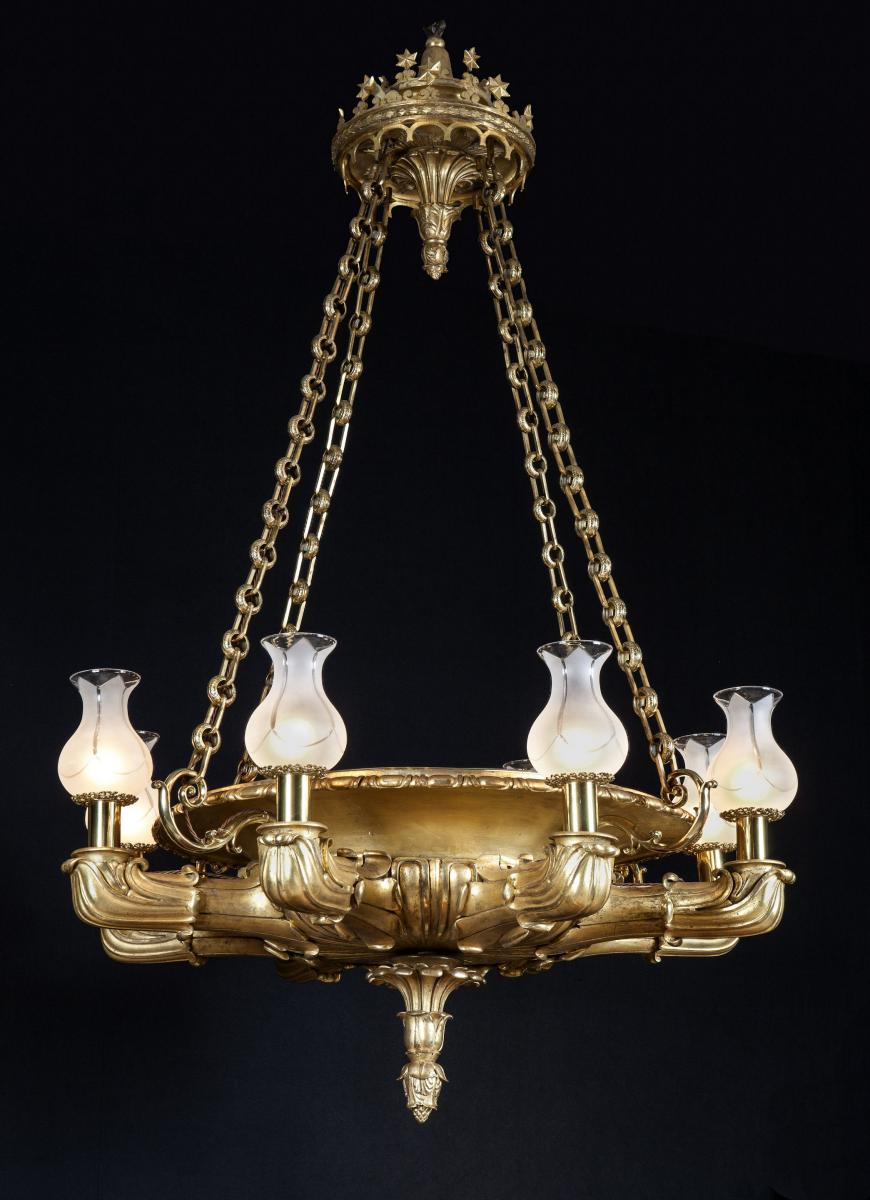 Regency Period Giltwood Chandelier of Spectacular Proportions