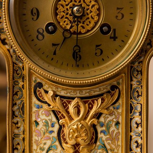 Detail of a regency gilt mantle clock
