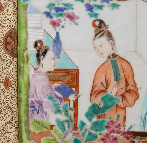 Detail of a Chinese porcelain famille rose vase