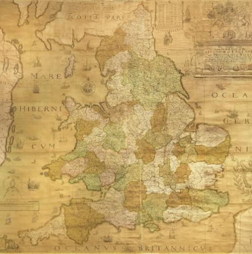 Elizabethan wall map by Christopher Saxton antique maps antique prints