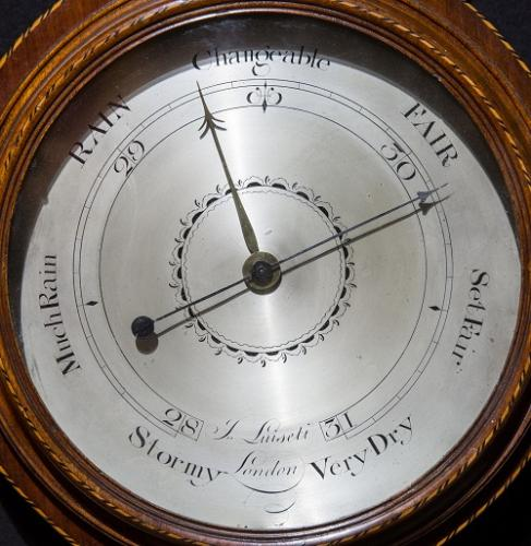 Detail of the face of an antique barometer