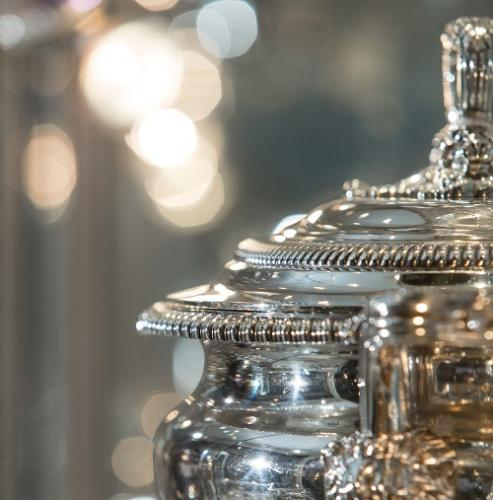 Detail of an antique silver tureen