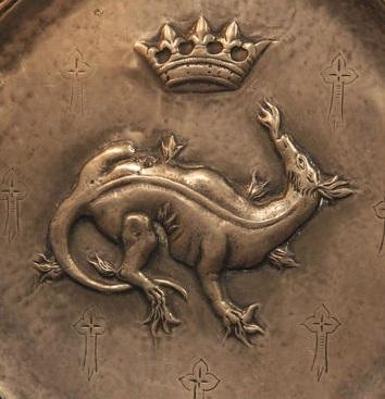 Detail of an antique pewter plate