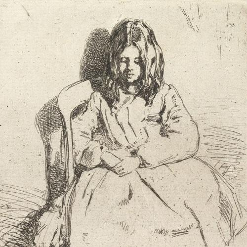 Annie seated by Whistler antique drawing