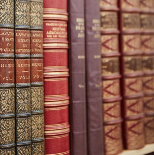 A shelf of antiquarian books