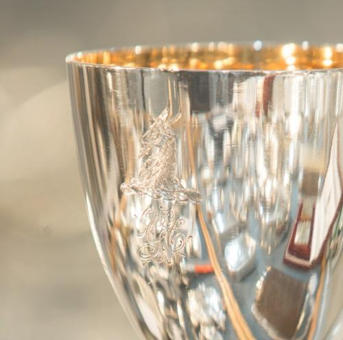 Detail of an antique silver goblet