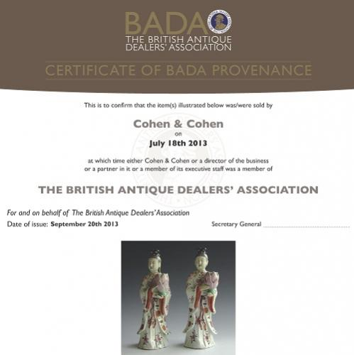 A sample certificate of bada provenance