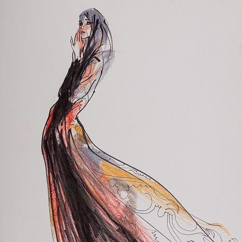 Kenneth Paul Block (1924 - 2009) Evening Couture 1990, Mixed Media on Paper, signed,