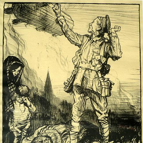 Brangwyn, F.W. Vow of Vengeance, 1914-1918, Colour lithograph printed by The Avenue Press.