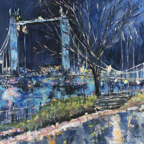 Gillian Durno (b.1970) Rainy Night at Tower Bridge Mixed media Signed 16 x 16 ins (41 x 41 cms)