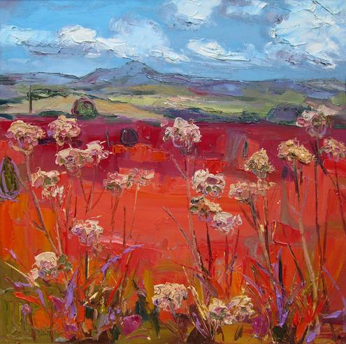 Judith I Bridgland, Cow Parsley, Queen's View, Oil on canvas