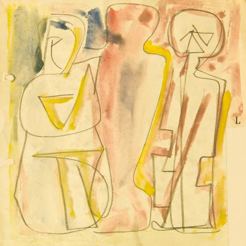 Mario Sironi (Sassari, 1885 - Milan, 1961) Figures, ca. 1953 Tempera and pencil on paper
