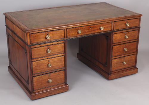 Fine and rare George III period mahogany double-sided desk