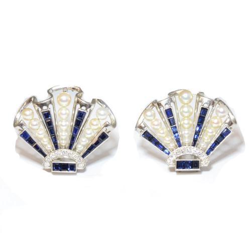 Sapphire & Pearl Scallop Clips