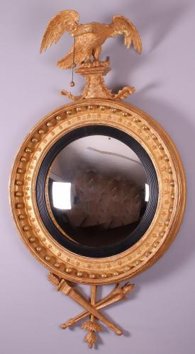 Regency Period Carved and Gilded Convex Mirror