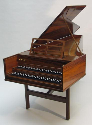 John Morley English Double Manual Harpsichord Walnut c1958