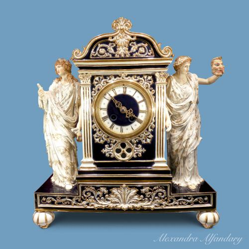 Neoclassical Cobalt Blue Meissen Clock