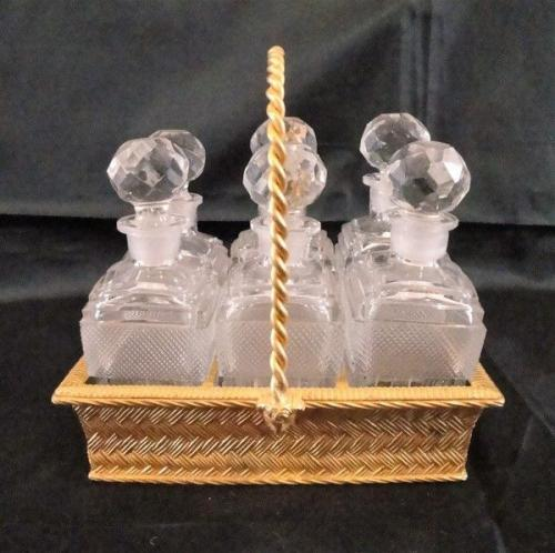 A Scent Bottle Basket & Six Scent Bottles