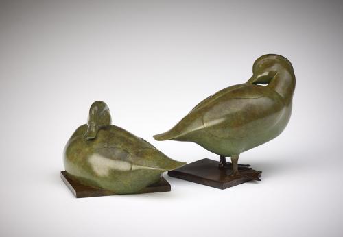 Jonathan Knight Tufted Ducks Bronze Sculpture
