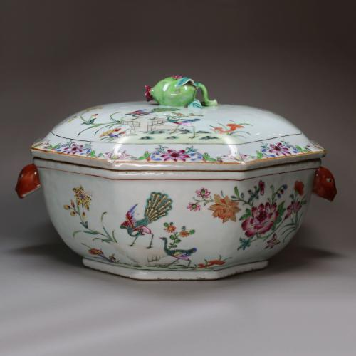 Rare Chinese famille rose 'double peacock' octagonal tureen and cover, Qianlong (1736-95)