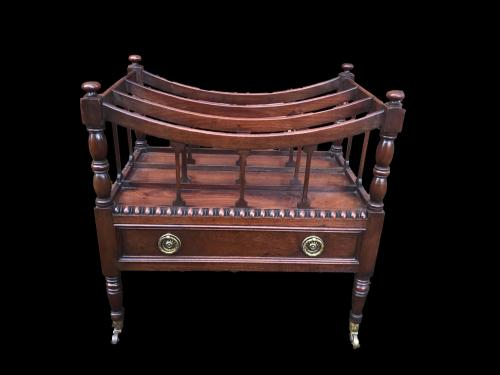 George III mahogany bow freestanding Canterbury with drawer