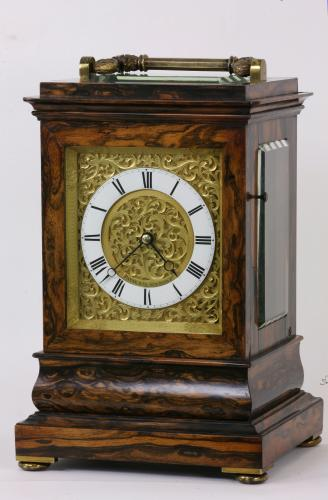 Coromandel cased carriage clock