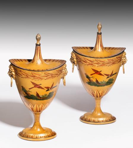 6496 Rare Pair of Usk Chestnut Urns