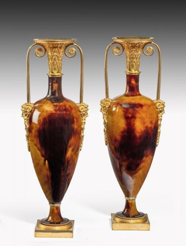 6520 Pair of Porcelain and Ormolu Urns By Dihl & Guérhard