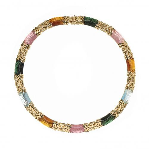 Bvlgari 18ct yellow gold and carved gemstone necklace