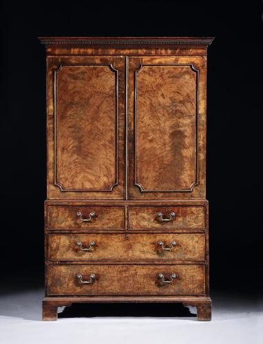 A George III Mahogany and Crossbanded Linen Press