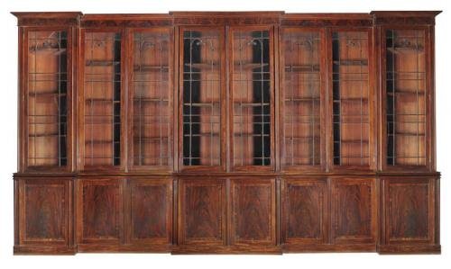 Very Large Triple Breakfront Bookcase