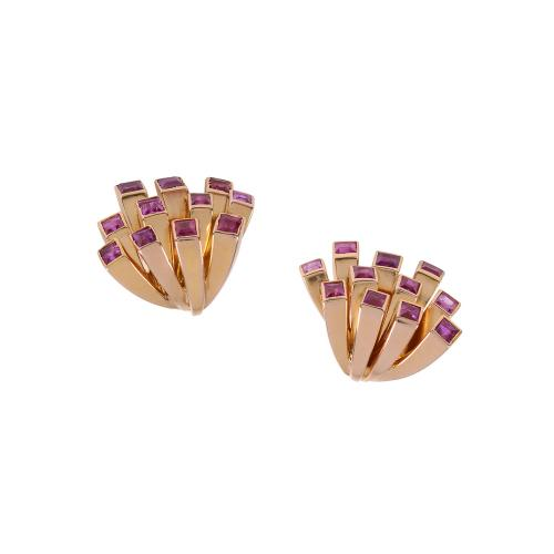 1950's 14ct rose gold and ruby fireworks earrings