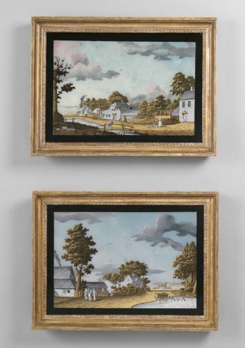 Pair of Verre Eglomise paintings by Jonas Zeuner