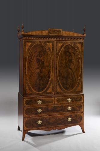 Important Late 18th Century George III Period Mahogany Clothes Press English Circa 1790