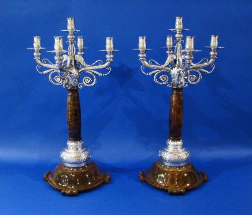 An Important Pair of Danish .830 Silver & Wood Candelabras, Made by Evald Nielsen, Copenhagen 1927