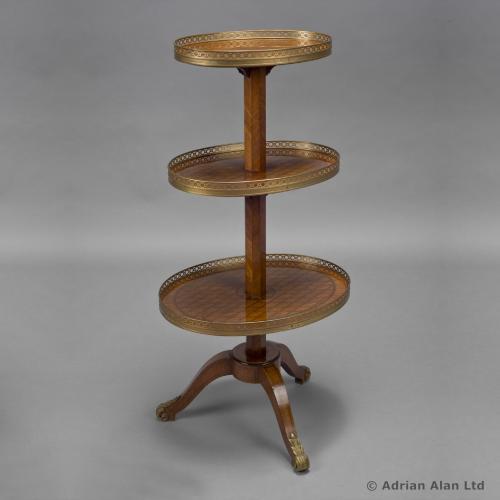A Louis XVI Style Oval Kingwood Three Tier Gueridon - © Adrian Alan Ltd, Fine Arts and Antiques