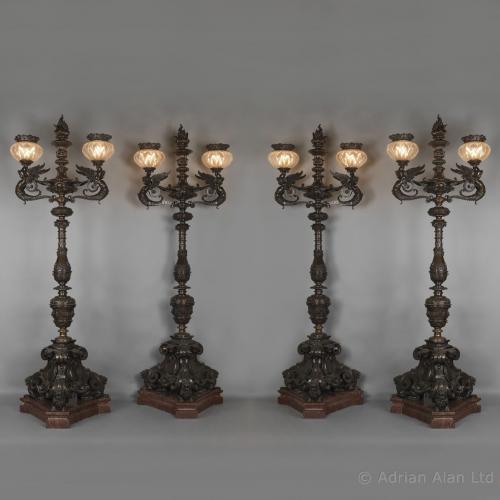 Set of Four Bronze Torcheres - © Adrian Alan Ltd, Fine Arts and Antiques