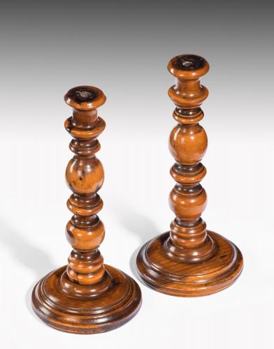 6500 Pair of Small Fruitwood Candlesticks, England, c.1790