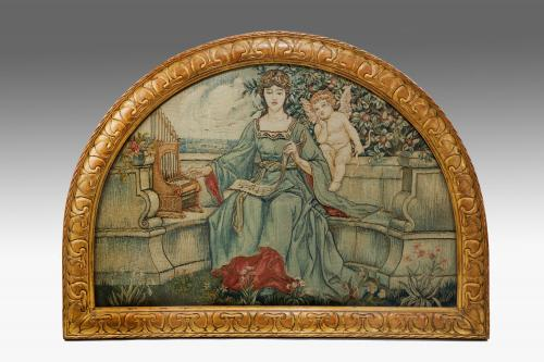 Arts and Crafts Tapestry Lunette Panel attributed to a Tapestry Weaver trained at Merton Abbey - 'Allegory of Love', England