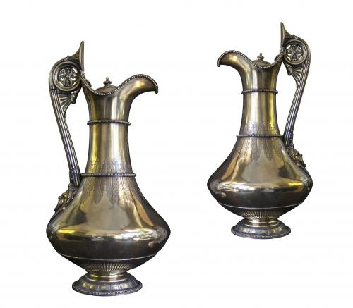 Victorian frosted silver-gilt neo-classical wine ewers