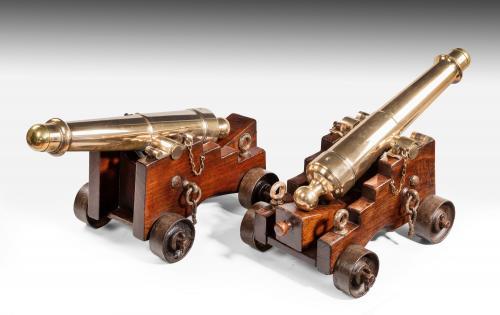 Pair of Bronze Deck Cannon, England, circa 1850-60
