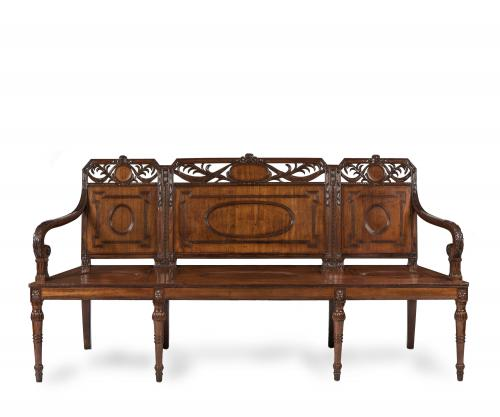 A Hepplewhite Period Mahogany Hall Bench