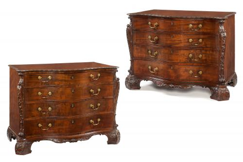 An Important Matching Pair of Commodes Attributed to William Gomm & Son