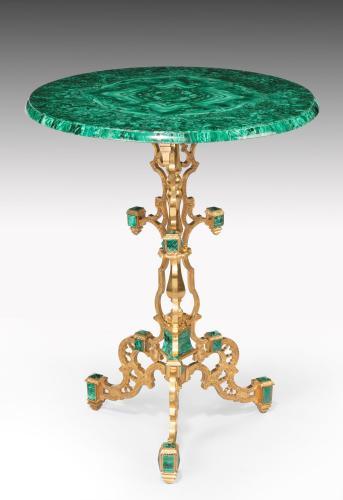525a: Malachite and Ormolu Circular Tripod Table