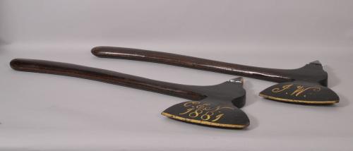 S/2305 Antique Folk Art Pair of 19th Century Pine Ceremonial Axes
