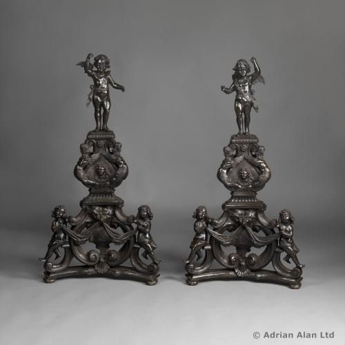 Pair of Andirons - © Adrian Alan Ltd, Fine Arts and Antiques